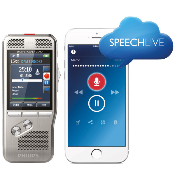 Spar-Set! PHILIPS Digital Pocket Memo DPM 8200 + 1 Jahr SpeechLive (1 Autor + 1 Schreibkraft) GRATIS