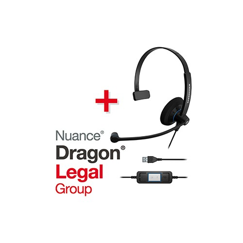 Spar-Set! NUANCE® Dragon® Legal Group 15 Spracherkennungssoftware + SENNHEISER Headset SC 30 USB