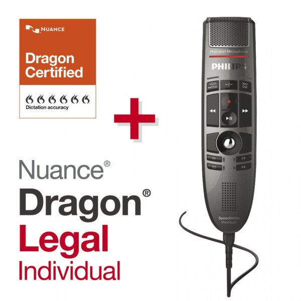 PHILIPS SpeechMike Premium LFH 3500, Drucktasten + Dragon® Legal Individual 15