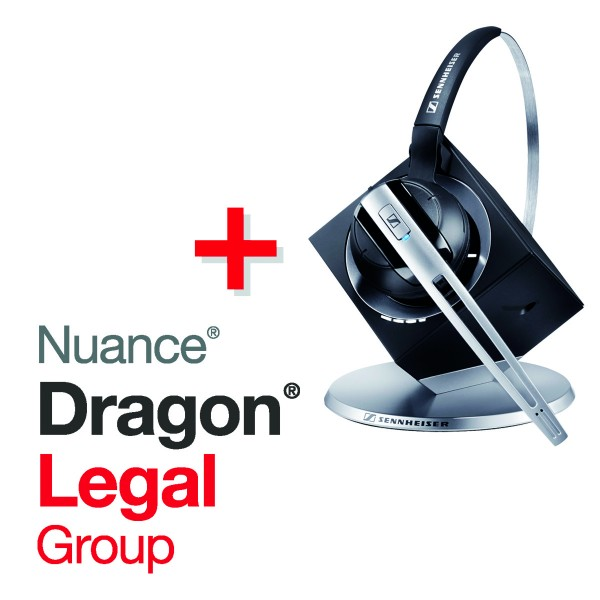 Spar-Set! NUANCE® Dragon® Legal Group 15 Spracherkennungssoftware + SENNHEISER Headset DW Office
