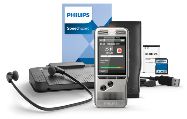 Spar-Set! PHILIPS Diktiergerät DPM 6700 Starterkit und SpeechExec Transcription Set 7177