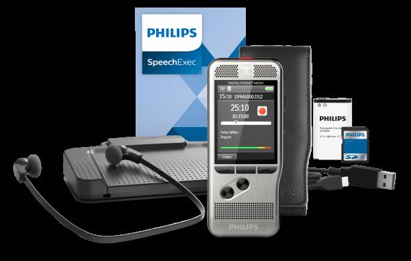 PHILIPS Handdiktiergerät Digital Pocket Memo DPM 6700 Starterkit, inkl. SpeechExec Transcription Set