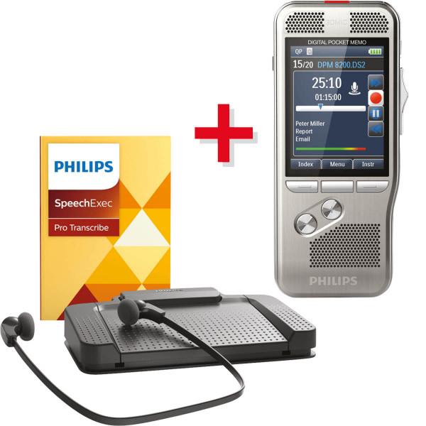 Spar-Set! PHILIPS Diktiergerät DPM 8200 + SpeechExec Pro Transcription Set 7277