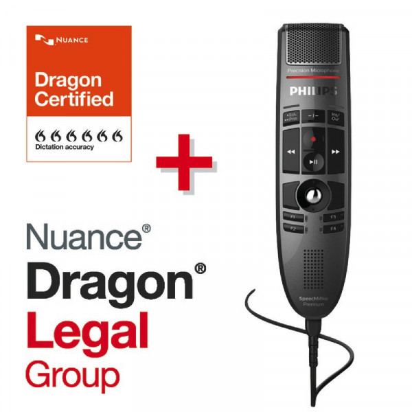 PHILIPS SpeechMike Premium 3500 (LFH3500), mit Drucktasten + Dragon® Legal Group 15