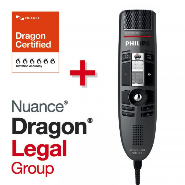 PHILIPS SpeechMike Premium LFH 3510, Schiebeschalter + Dragon® Legal Group 15
