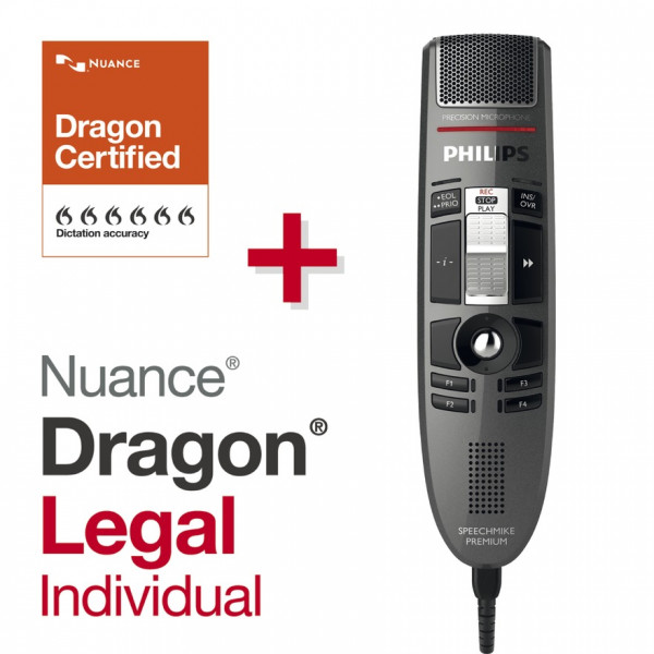 PHILIPS SpeechMike Premium LFH3510, mit Schiebeschalter + Dragon® Legal Individual 15