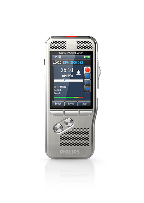 360°-Ansicht | Spar-Set! PHILIPS Digital Pocket Memo DPM 8200 + 1 Jahr SpeechLive (1 Autor + 1 Schreibkraft) GRATIS