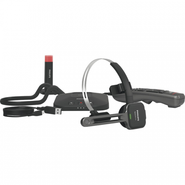 Philips PSM6500 SpeechOne kabelloses Diktier-Headset inkl. Fernbedienung