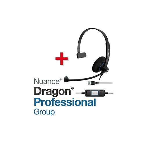 Spar-Set! NUANCE® Dragon® Professional Group 15 Spracherkennungssoftware + SENNHEISER Headset SC 30