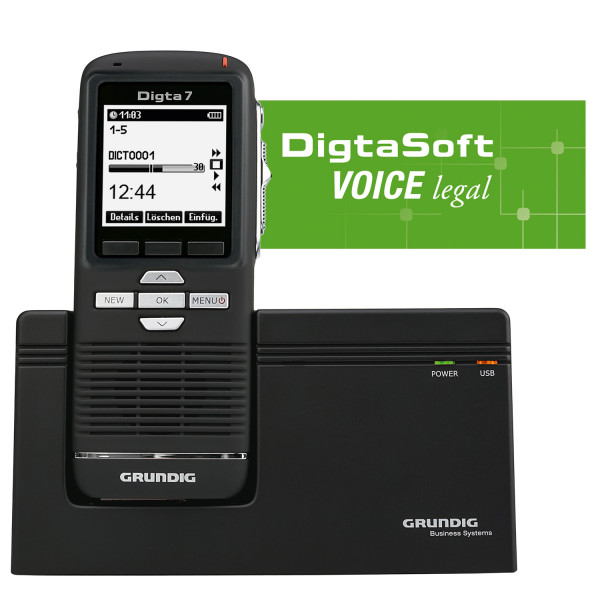 Spar-Set! GRUNDIG Digta 7 Premium-Set mit Dockingstation + DigtaSoft Voice Legal